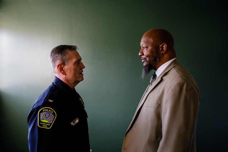 "Ernest Ward, right, the N.A.A.C.P. president in Troup County, Ga., said he had ""a newfound respect"" for Louis M. Dekmar, the police chief in LaGrange."