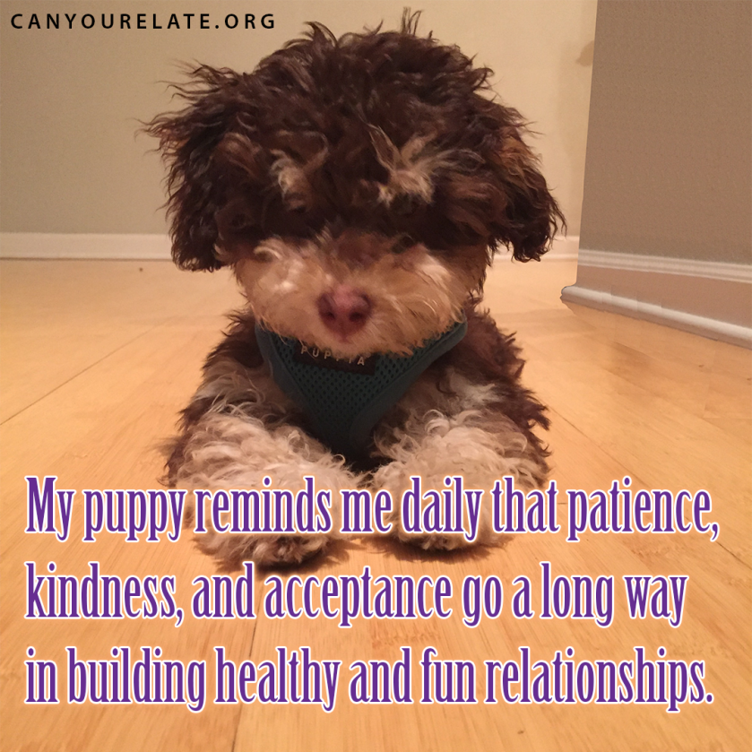My puppy reminds me daily that patience, kindness, and acceptance go a long way in building healthy and fun relationships.
